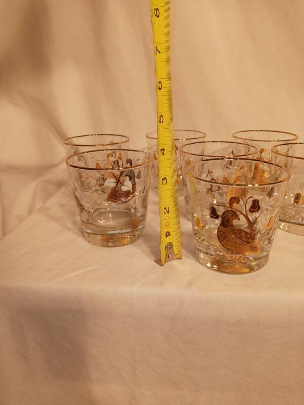 8 Vintage Libbey Partridge Pear Tree Rocks Low Ball  Barware Gold & White box