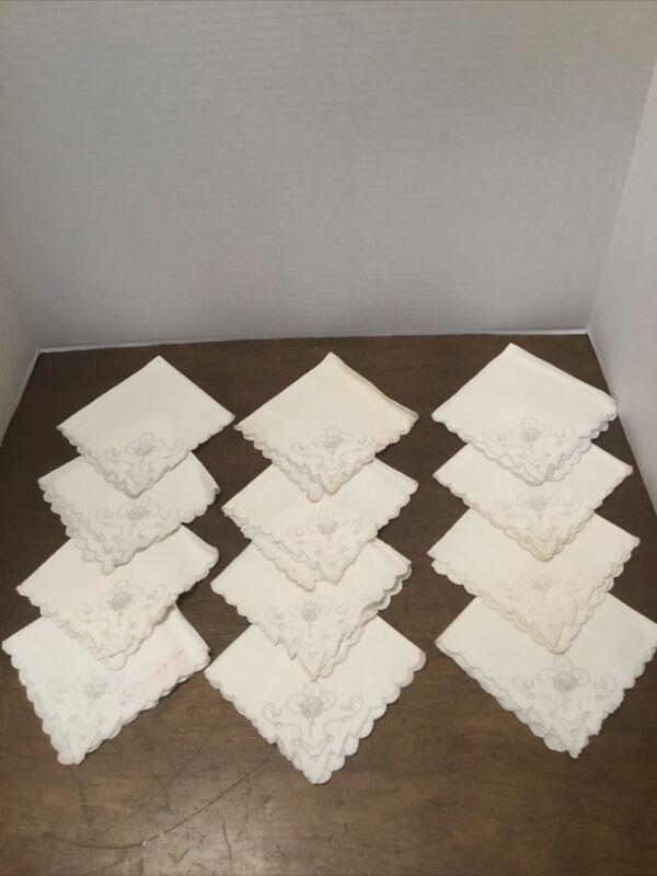 12 antique VTG Cotton Linens Napkins Embroidered Tea Luncheon 10 x 10 Off White