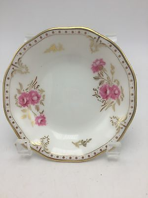 "Royal Crown Derby Royal Pinxton Roses Low Fruit Bowl 5 1/4""  White Pink Gold"