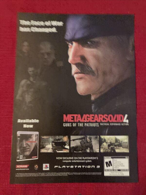 Metal Gear Solid 4 PlayStation Xbox 2008 Ad/Poster Promo Art Ad