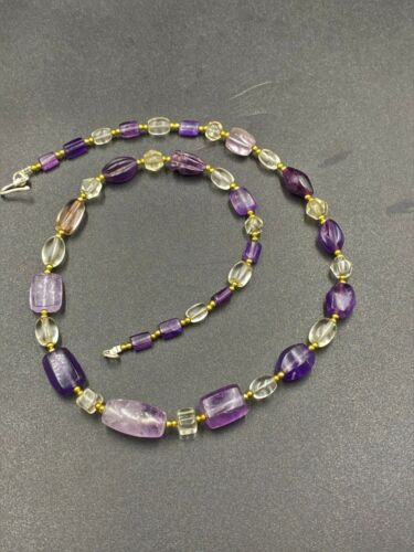 Ancient Pyu dynasty Amethyst and crystal quartz Beads necklace old beads