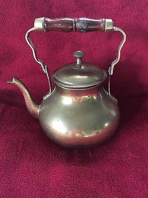 Brass Tea Pot India Wooden Handle Vintage Teapot  Kettle Lid
