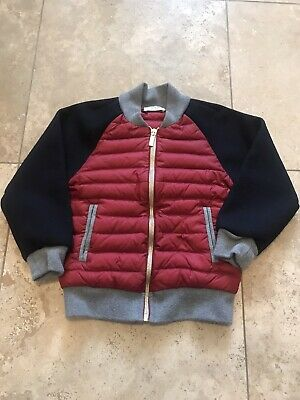 VGUC Designer THOM BROWNE Kids Red Black Down wool Baseball jacket zipper 6T