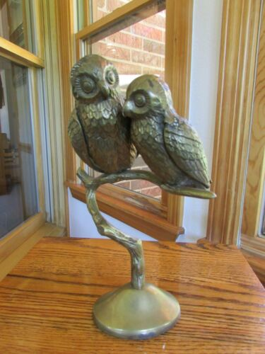 "Vintage Solid Brass Two Owls Perching On Tree Stump Figurine Sculpture 10"" tall"