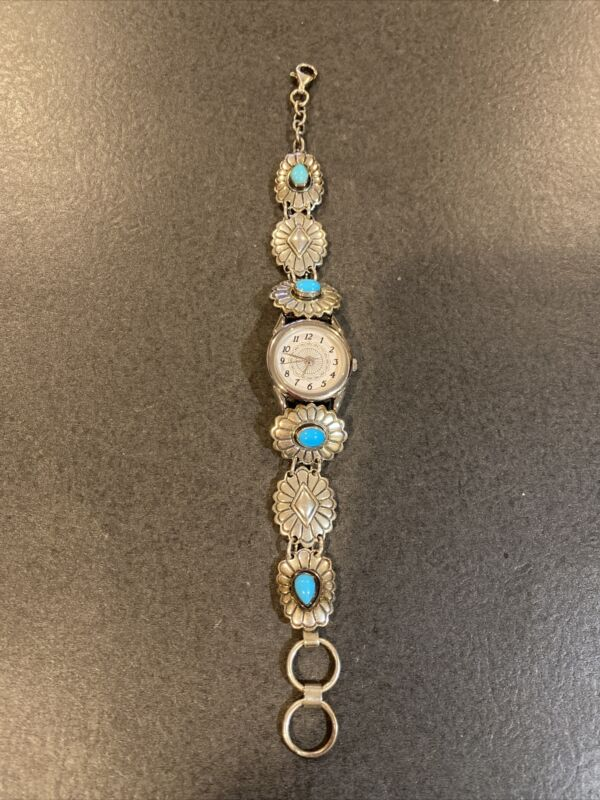 Carolyn Pollack Sterling Silver Southwest Traditions Turquoise Watch