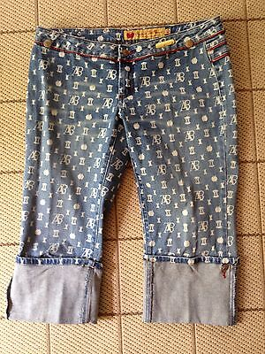 Apple Bottoms Cropped Pants Capris Size 10 Denim Signature Rolled Cuff