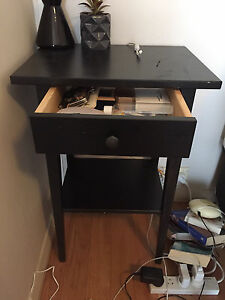 Bedside Table x2 - IKEA - Black Brown Rozelle Leichhardt Area Preview