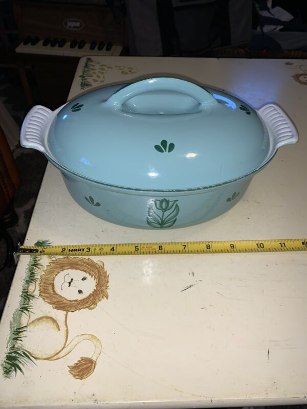 Enamel Cast Iron Green Tulip Oval Dutch Oven w/Vented Lid #24 - Made in Holland