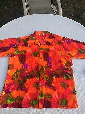 Vintage 60's Island Fashions Acrylic Hawaiian Shirt Size Large
