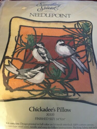 """Candamar Something Special Needlepoint Kit Chickadee's Pillow 14"""" x 14"""" SEALED"""