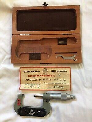 Etalon Pierre Roch Micrometer 1-2 .0001 Grad. Wood Case With Insp. Cert