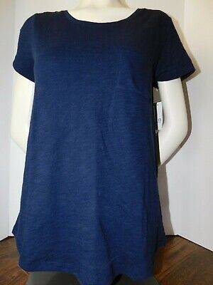 NWT Gap Women's Easy T-Shirt Scoop Neck Navy Blue Round Hem Pocket Medium New