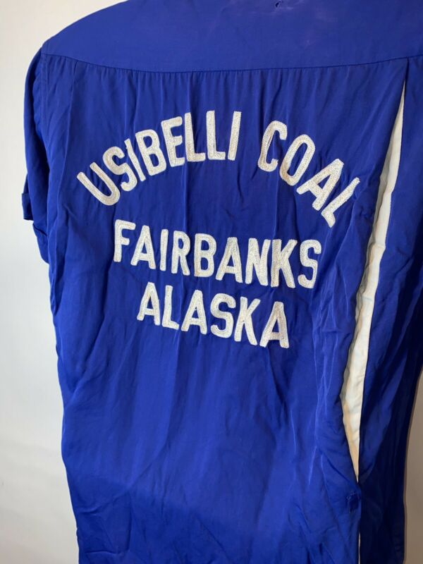 Vtg Usibelli Coal Mine Fairbanks Alaska Bowling Shirt ? Destroyed 50's ?