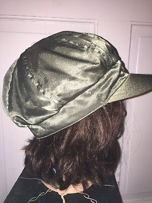 Vintage Flight Hat Bomber Jacket Green Tactical Cabbie Newsboy Cap Womens Jrs FS for sale  Cary
