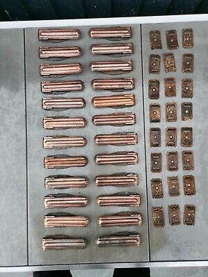 Set of 24 vintage Clipper copper stair carpet clips/runner grips. Unusual design