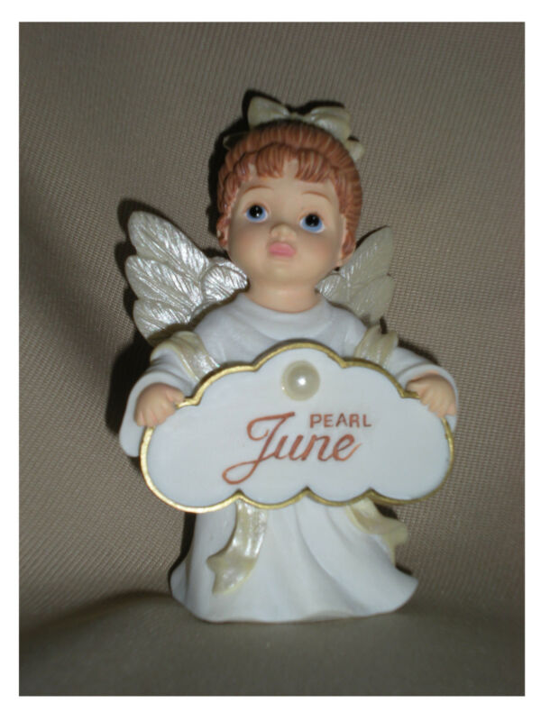 BIRTHSTONE ANGEL FIGURINE - JUNE - PEARL  - JEANE
