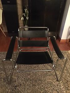Marcel Breuer's Wassily Style Chrome and Black Leather Chair