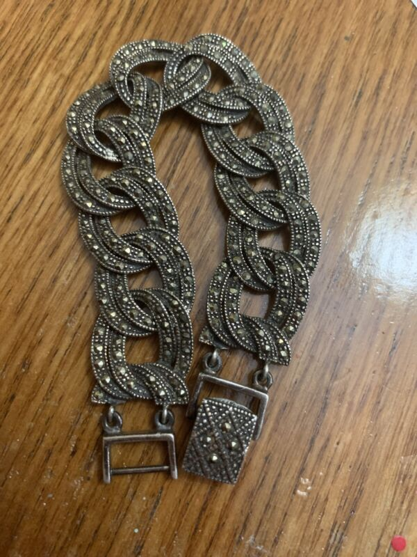 Vintage Classic and comfortable SS Marcasite link bracelet