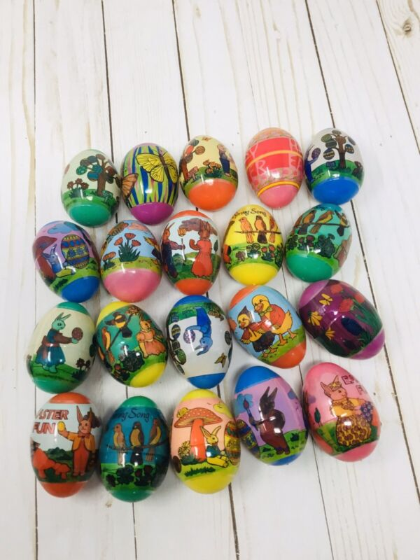 EASTER EGGS Vintage Lot of 45 Plastic Retro Wrapped Bunny with SURPRISE TOY, BOX