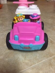 Little People pink car with 2 Little People.