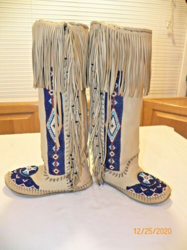 Plains Indian Beaded High Top Moccasins Fringe Beadwork Buckskin Leather
