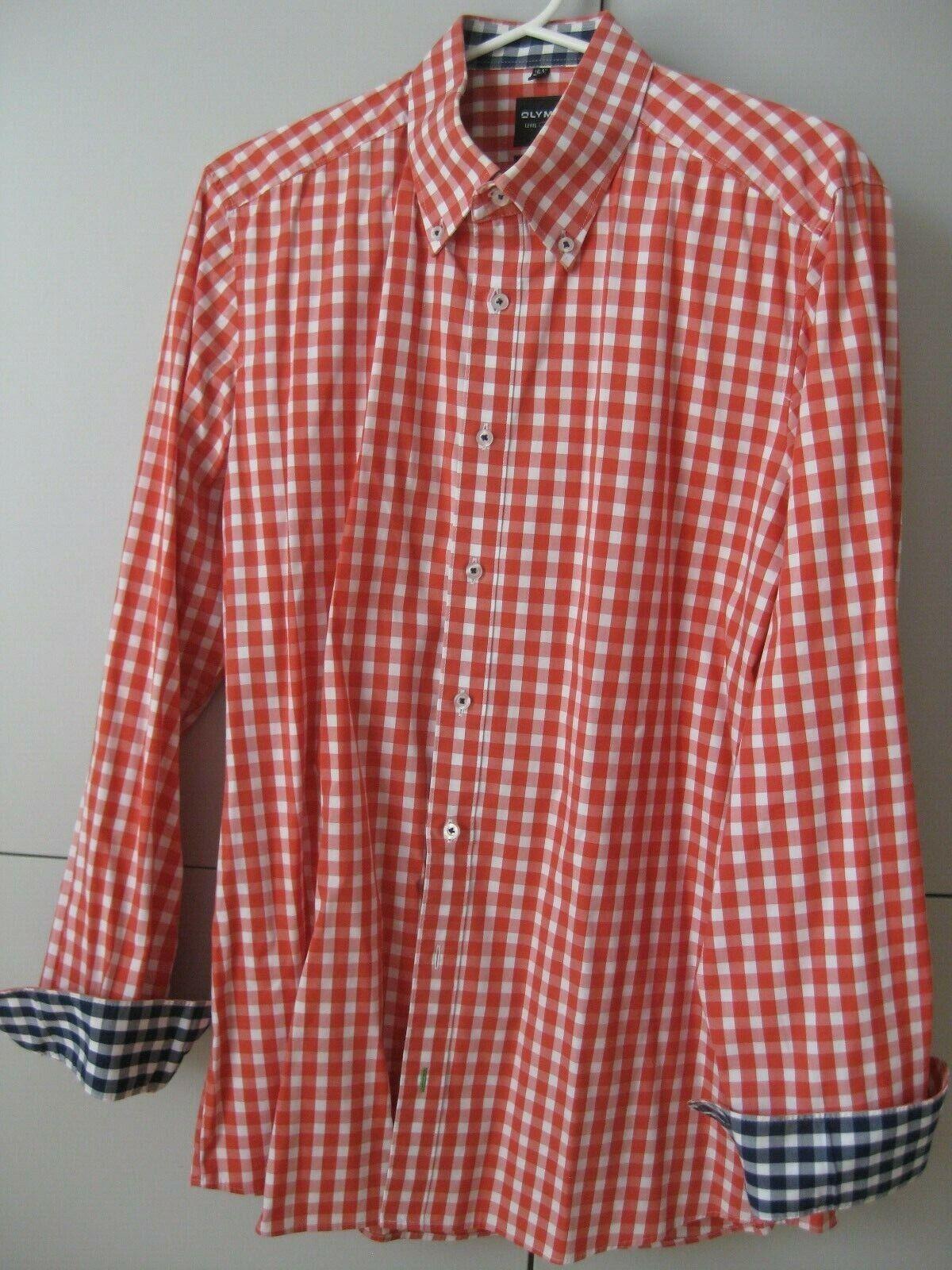kariertes Herrenhemd Olymp 42 Level 5 Umschlagmanschette rot-weiß body fit 16,5