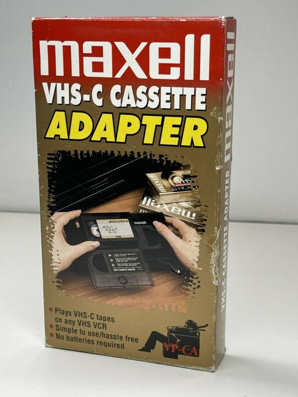 Vintage Maxell VHS VP-CA Video Cassette Adapter for VHS-C  Videotapes - With Box