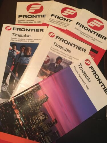 Frontier Airlines 1980s timetable lot