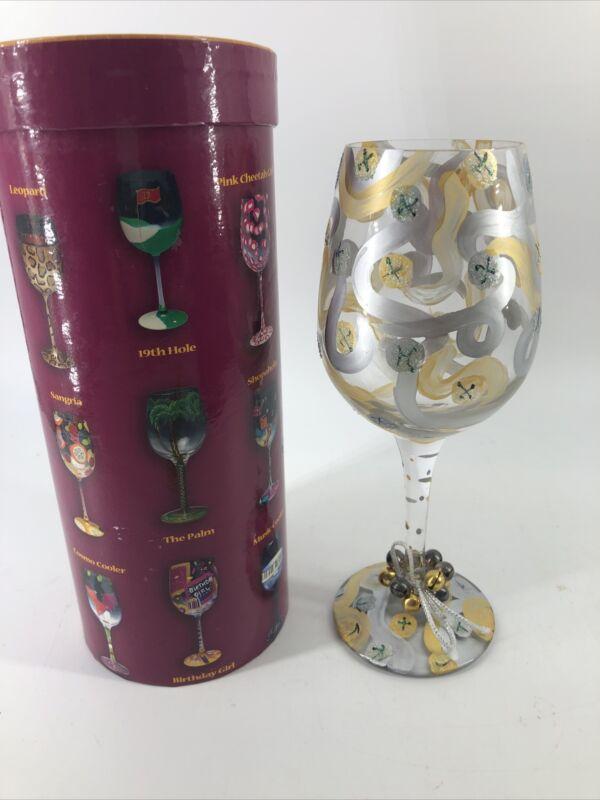 "Lolita Love My Wine ""Jingle Bells"" Hand Painted Glass New Box 15 oz Christmas"