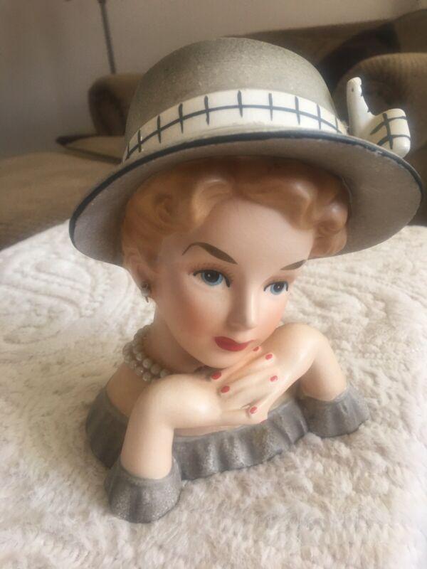 Vintage RELPO K1175L Elegant Lady Head Vase Hat Bow Pearl Earrings/ Necklace