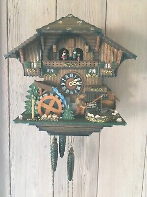 Vintage German Cuckoo Clock, Chalet with Fisherman (Romance, Swiss Made)