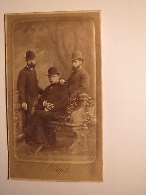 3 Männer mit Bart Hut - Kulisse ca. 1860er Jahre / CDV R. Schlegel
