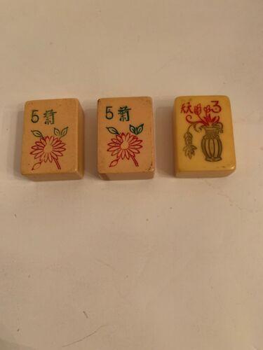Vintage Bakelite Mah Jongg Flower Tiles  - $9.25