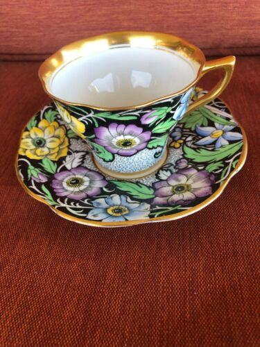 Rosina Gold Cloisonne Cup & Saucer England Bone China Floral