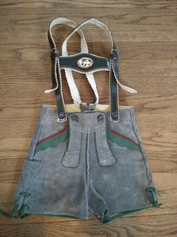 Authentic Vintage Leather Child's German Lederhosen Shorts Leiderhosen Boy Girl