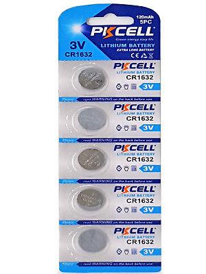 5 x CR1632 3V Lithium Batterie 120 mAh ( 1 Blistercard a 5 Batterien  PKCELL) ()