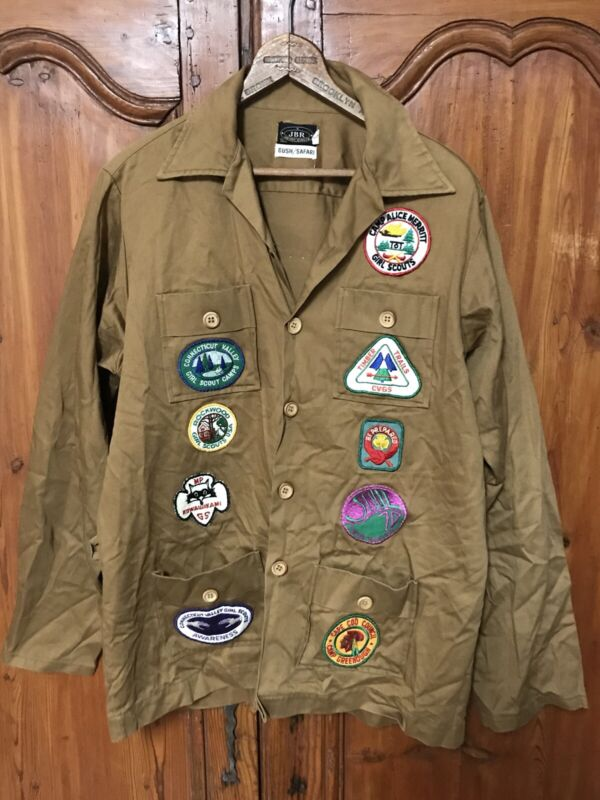 Rare Vintage Boy Scout Leader Safari Shirt Jacket 1970's with Patches In Size L