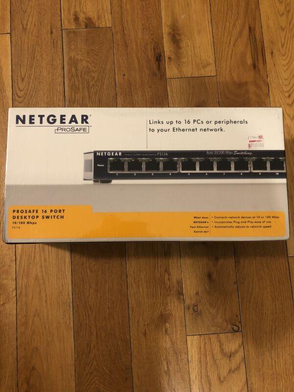 NetGear FS116 ProSafe 16-Port 10/100 Fast Ethernet Desktop Switch NEW IN BOX