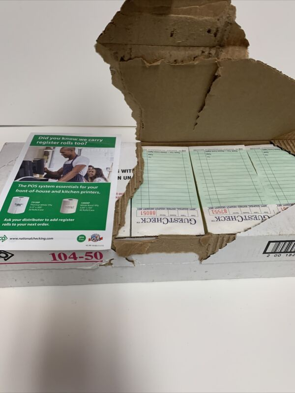 50 Guest Check Pads 3-1/2 x 6-3/4, Two-Part Carbonless, 50 Checks/Books 104-50