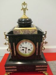 Antique --French-- 8 Day-- Striking-- Ornate-- Marble & Bronze --Mantle Clock