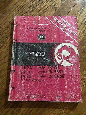 John Deere 4050 4250 4450 Tractors Operators Manual Book Omrw16851