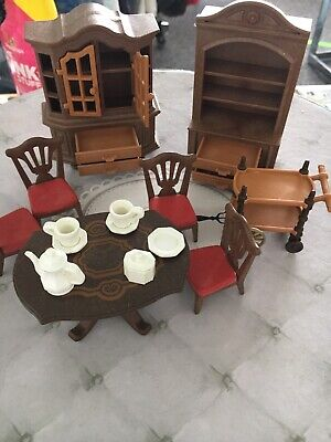 JOB LOT VINTAGE DOLLS HOUSE FURNITURE inc KITCHEN DRESSER SIDEBOARD TABLE CHAIRS