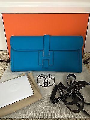 (NIB Authentic Hermes Jige Zanzibar Blue Swift Leather H Logo Clutch Bag Handbag)