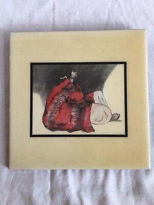 Vintage R.C.GORMAN (1931- 2005) TILE ART-Night II -From Print
