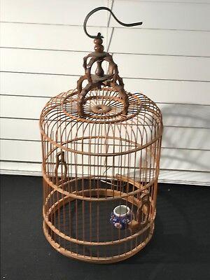 865iu- Vintage Bamboo Bird Cage Decorative Handmade Porcelain Feeder