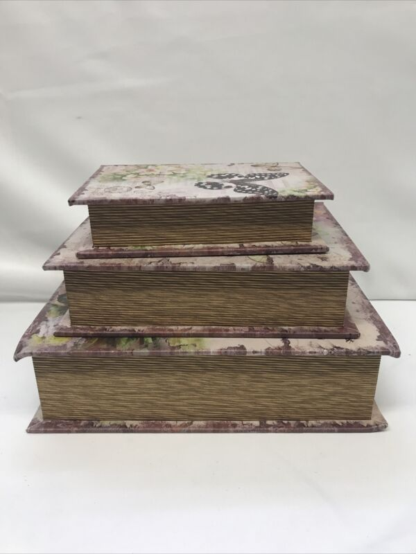 Faux Books Nesting Boxes Butterfies