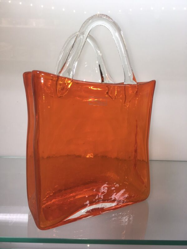 Art Glass Tangerine Orange Hand Bag Tote Vase 9x6 By Design Society - Shaped Bag