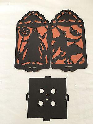 Vintage Four-Sided Halloween Black Die Cut with Crepe Paper Insert Lantern