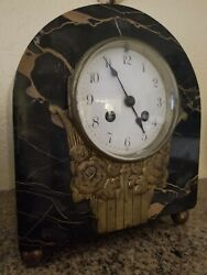 Vintage 19-th century French Classical Black Marble end Bronze Mantel Clock