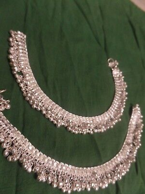women silver bells charm chain anklet Indian Sari payal traditional foot jewelry